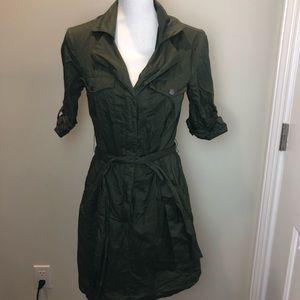Aqua military green shortsleeve shirt dress small